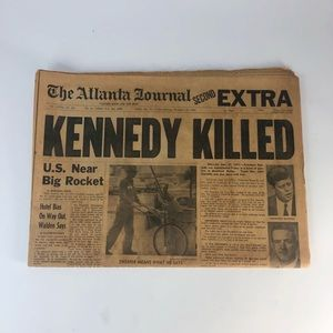 Atlanta Journal Nov 22 1963. Kennedy killed.
